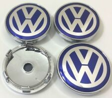 4pcs 60mm VW Blue Wheel Rim Center Cap Beetle CC Caddy EOS Golf Jetta Passat