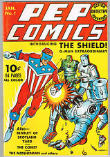 FLASHBACK 7 Dynapubs - PEP COMICS 1 The Shield The Comet
