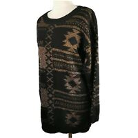 Sparkle & Fade Size M 12 14 Black Gold Jumper Round Neck Xmas Christmas Womens