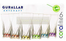 6PC Coloured Base Glasses Set Glassware Dining Juice Whiskey Wine Glass R370