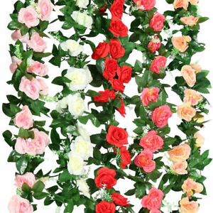 "96"" Artificial Silk Rose Leaf Garland Vine Ivy Flower String Wedding Home Decors"