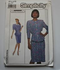 Simplicity Sewing Pattern 9038 Misses Dress Two Piece Size 10