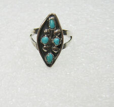 SOUTHWEST STERLING SILVER TURQOISE PETIT POINT RING SIZE 5.5 183-W