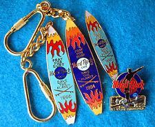 HONOLULU 4 KEYCHAIN & PIN SURFBOARD SET 1994 &95 + US LONGBOARD Hard Rock Cafe
