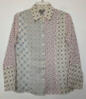 J JILL Crinkle Rayon Embroidered Blouse Petite Size S Paneled Button Front Mixed