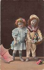 Children enfants costumes, sailor clothing, umbrella, flowers basket 1910