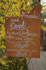 Edelrost Tafel Freunde sind Engel Schriftzug Schild Geschenk Metall Herz Spruch