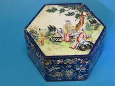 ANTIQUE 19 c. CHINESE ENAMEL HEXAGONAL BOX 古董清代金属珐琅 العتيقة مربع الصينية المينا