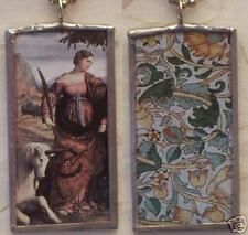 JUSTINA AND THE UNICORN - ART GLASS PENDANT