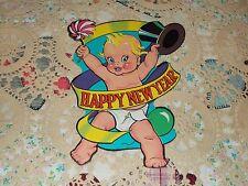 Vtg Beistle Diecut Happy New Year Baby Top Hat Cardboard Decoration Nos Mint