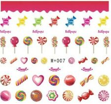 Nail Art Stickers Water Decals Transfers Sweets Lollipops Candy (M+007)