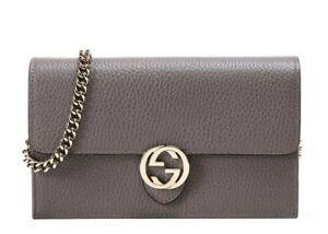 GUCCI GG INTERLOCKING GRAY WALLET CHAIN CROSSBODY SHOULDER BAG CLUTCH 510314