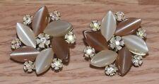 Genuine Lisner Vintage Style Mauve Tone Flower Women's Clip On Earrings Only