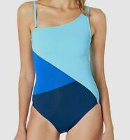 $250 Bleu Rod Beattie Women's Blue Single-Shoulder One-Piece Swimsuit Size 8