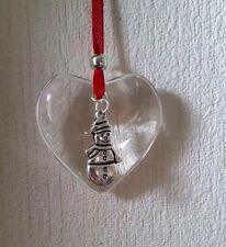 Handmade suspendu verre Coeur Décoration Cadeau de Noël avec bonhomme de neige Charm Babiole