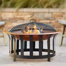 "30"" Round Wood Burning Steel Outdoor Fire Pit Bowl Spark Guard Screen Poker"