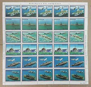 EC140 1983 PARAGUAY AVIATION & SHIPS !!! MICHEL 16 EURO BIG SH FOLDED IN 2 MNH