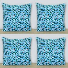 Indian Blue Floral Hand Block Printed Home Decorative 16x16 Cushion Covers 4 Pcs