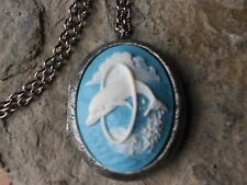 Tropical - Vacation - Ocean - Dolphin Cameo Antiqued Silver Plated Locket -