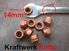 4x M10-1.50 Copper Turbo Nuts 14mm (!!!) Hex - Exhaust Downpipe - Audi VW Porsch
