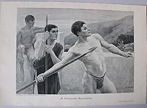 """Leichtathletik Antike - """"Speerwerfer"""" - Stich, Dekorativer Holzstich 1899"""