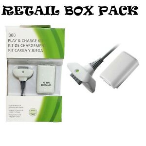 PLAY AND CHARGE KIT + RECHARGEABLE BATTERY FOR XBOX 360 NEW BOX WHITE UK SELLER