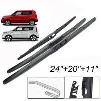 "24""20""11"" Front Rear Tailgate Wiper Blades Set For Kia Soul MK1 MK2 09-18"