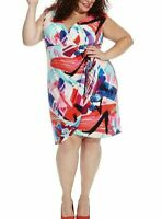 London Times Stretch Jersey Side Ruched Sheath Dress In Abstract Print Size 14