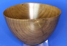 More details for vintage fine treen carved turned wooden laburnum bowl, signed, w11cm [22773]