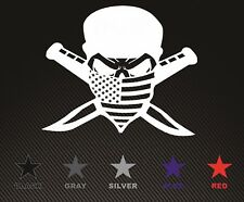 American Flag Bandanna Skull Crossed Knives vinyl decal free ship Veteran made