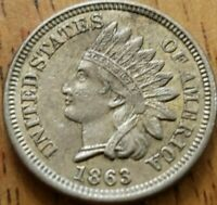 1863 Indian Head One Cent 1c AU+ ***Check It Out!!! KM# 90a #AA268-7