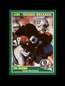 1989 Score Football #328 Tim Brown (Record Breaker) (Raiders) MINT