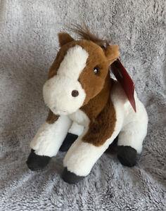 Horse Pony Plush FAO Schwarz Adopt A Pet Toy Certificate Brown White Soft