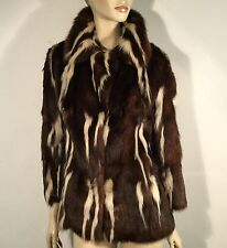Skunk Vintage Genuine Real Fur Jacket Coat L 12