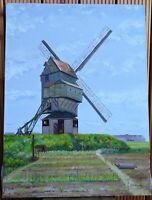 flandre - huile sur toile - le Noordmeulen - Moulin d ' HONDSCHOOTE  signé spas