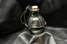 Glass Potion Bottle w/ Black Leather Center Strap Renaissance Pirate Larp