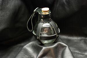 Glass Potion Bottle w/ Black Leather Center Strap Renaissance Pirate LARP