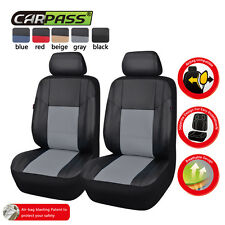 NEW ARRIVAL Universal PU Leather Two Front Black with Grey Car Seat Covers Set