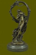 Bronze Sculpture Sexy Woman Holding a Ball Bronze Sculpture Marble Base Figurine