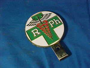 Vintage REGISTERED PHARMACIST Automobile Enameled LICENSE PLATE TOPPER