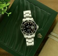 Rolex Submariner Black Dial Stainless Steel Watch 16610 No Holes With Box