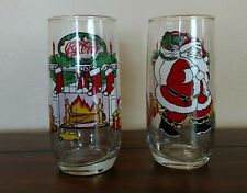 Coca Cola Coke McCrory Stores Santa Fireplace Glasses Set of 2