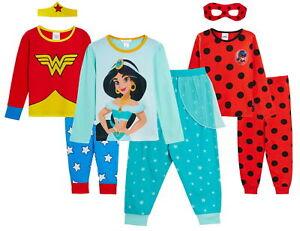 Girls Novelty Character Dress Up Pyjamas Kids Full Length Superhero Princess Pjs