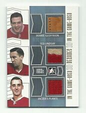 Bernie Geoffrion Ted Lindsay Jacques Plante 2014 In The Game Used Triple Patch