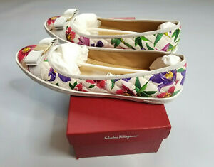 SALVATORE FERRAGAMO RUFINA WHITE FLORAL PRINT QUILTED LEATHER BALLET FLATS 11 C