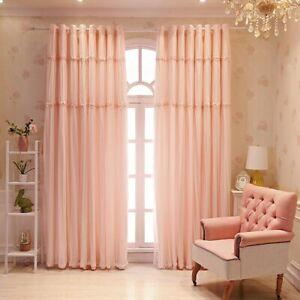 Lace Princess Curtain Blackout for Living Room Window Drape Romantic Eyelets