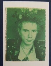 handmade christmas card JOHNNY ROTTEN / LYDON with holly , PUNK , green