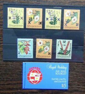 Guyana 1981 Royal Wedding set Black and Blue Overprints Booklet MNH