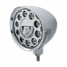 """UNITED PACIFIC 31583 - 7"""" LED Chrome """"CHOPPER"""" Headlight with Smooth Visor"""