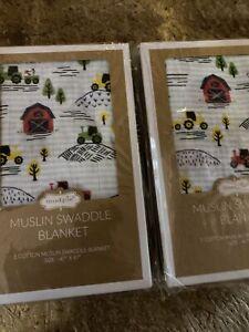 "Two Mud Pie Muslin Swaddle Blanket 47"" x 47"" 100% Cotton Farmhouse Designs"